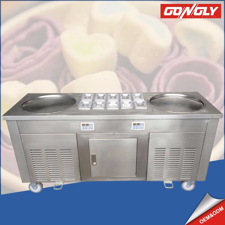 Double Flat Pan Roll Ice Cream Machine with real fruit / Thailand style rolled ice cream machine