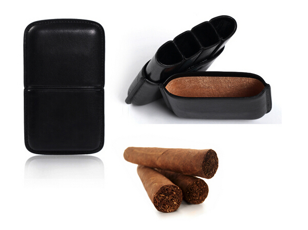 KID custom luxury handmade hold 3 pieces wholesale cigar case leather