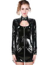 Winner High Quality Black Sex Lady Wet Look Latex Catsuit 2017Cosplay Costume For Party