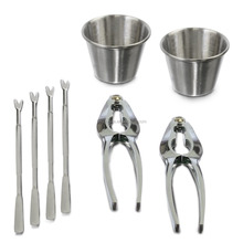 8 Pieces Seafood Tools Set Includes 2 Lobster Crackers, 4 Lobster Forks, 2 Sauce Cups