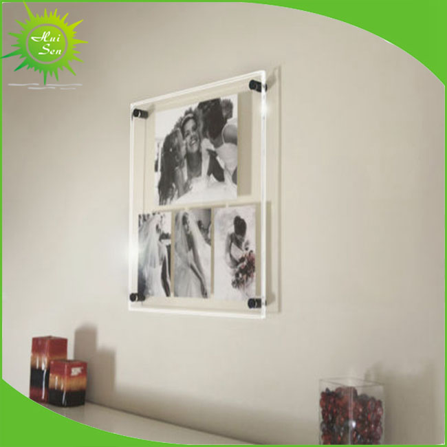 Magnetic Wall Mounted Acrylic Glass Photo Frame With Cube