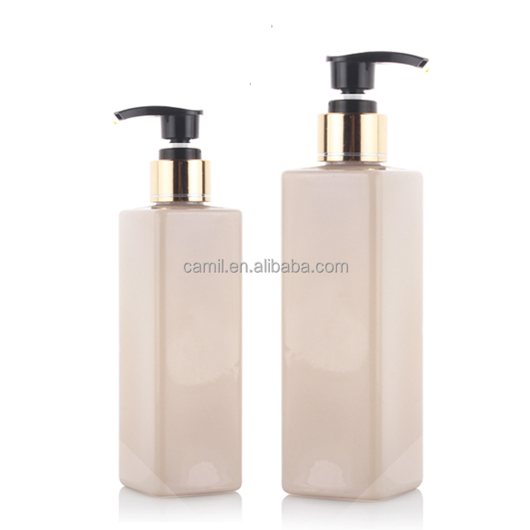 OEM friendly square plastic PET shampoo bottles 250ml 500ml