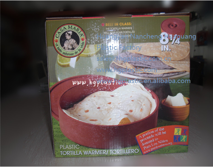 Plastic Tortilla Warmer with lid ,chili color ,8.5inches