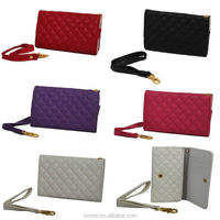 Quilted PU Leather Wristlet Wallet Pouch Case For iPhone 4 4S