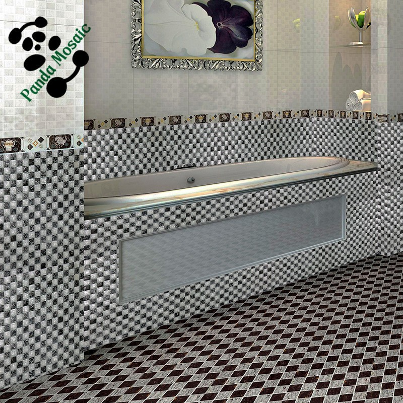 SMS10 white silver mosaic travertine black nero marquina mosaic wall mirror kitchen backsplash mosaic