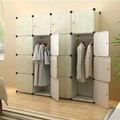 2015 Newest wooden looks design garment wardrobe with 12 cubes (FH-AW03616-16)