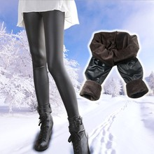 sexy women thick fur warm tight leggings pants