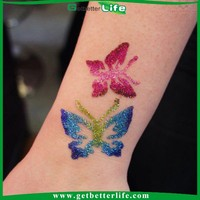 2015 getbetterlife Reusable body art Glitter tattoo stencil/glitter tattoo stencils/wholesale glitter