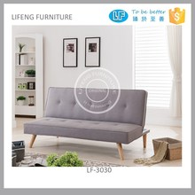 button tufted folding sofa bed with wooden feet, LF-3030