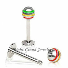 Jewelry Factory Made Jamaican Stripe Ball 316L Steel 16G Labret