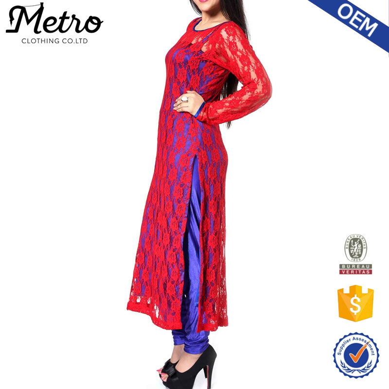 Fashion Velet Indian long sleeve net kurta for women 2016