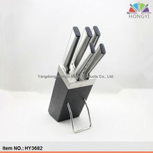 Sandwich handle steel kitchen knife set with wooden block