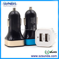 FYY and FYF 2 shape Dual usb car charger 2.1A/3.1A/4.8A for smartphone with logo costomed