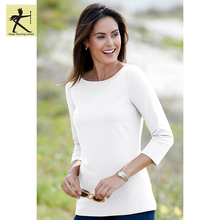 wholesale custom knitted piece dye jersey cotton spandex blouse women t shirt latest design ladies casual tops with 3/4 sleeve