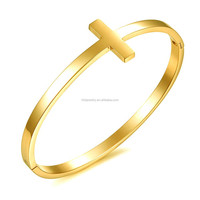 Christian religion cross bangle 316L steel bangle gold plating clip on bangle