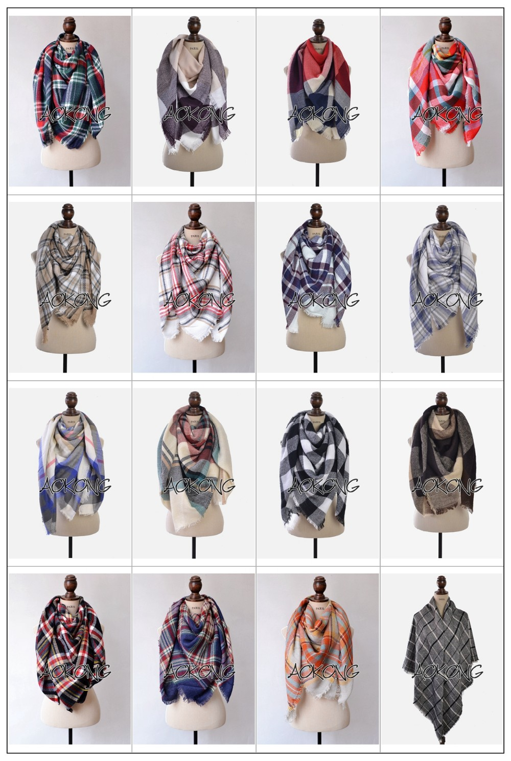 2017 hot sale 150 colors stock square large oversize winter cape tartan plaid blanket scarf