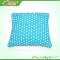 Round dot printed style car pillow travel pillow set new tube shape microbead plush pillow