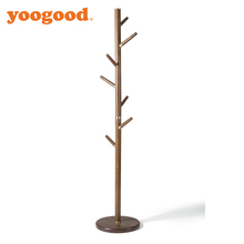 Yoogood Black Walunt And Brass Wood Coat Rack Hall Stand Hooks Entryway Hat Hanger Storage Home Modern Decor
