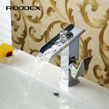 Chrome Plating Waterfall Faucets, Basin Mixer Brass Taps, Single Hole Bathroom Faucet