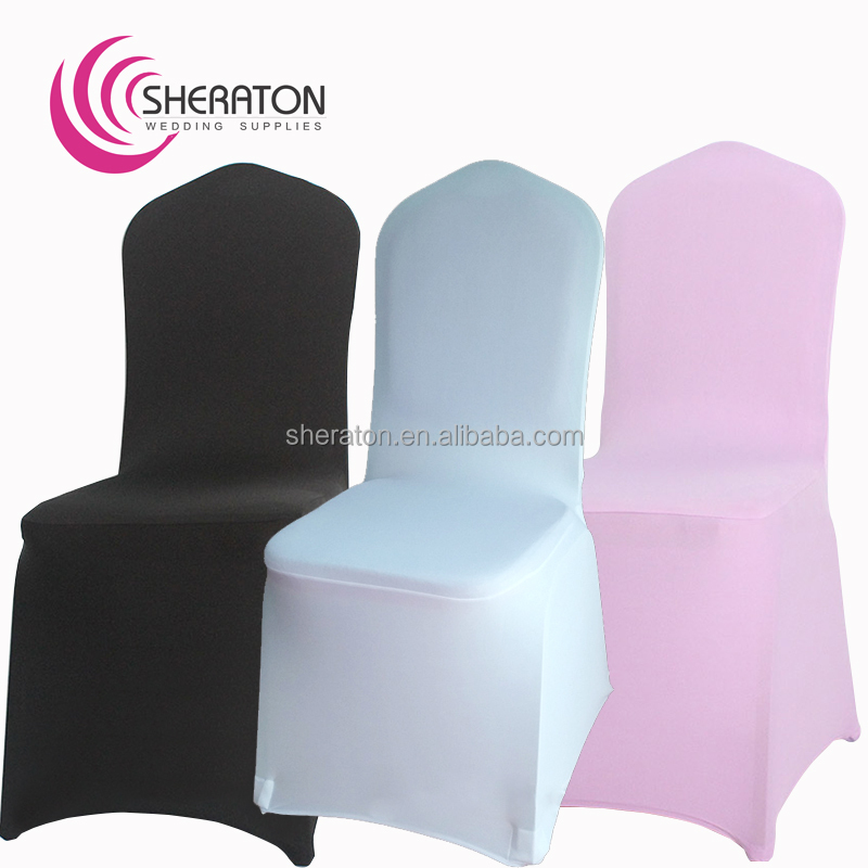 Cheap lycra elastic spandex pink chair cover with band / stretch universal outdoor wedding chair covers for banquet decoration