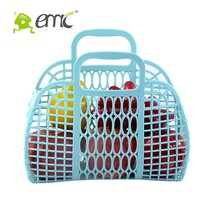 PE Plastic Storage Basket With Handle Foldable Hollow Plastic Laundry Baskets With Handles