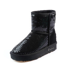 Fancy Cow Suede Women Booties Bling Sequin Sexy Ladies Warm Soft Snow Boots