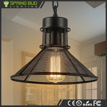 Fashion style hanging black color iron wire net cover industrial retro pendant lamp