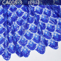 CA005-3 royal blue High quality 100% cotton digital printed fabric african cord lace