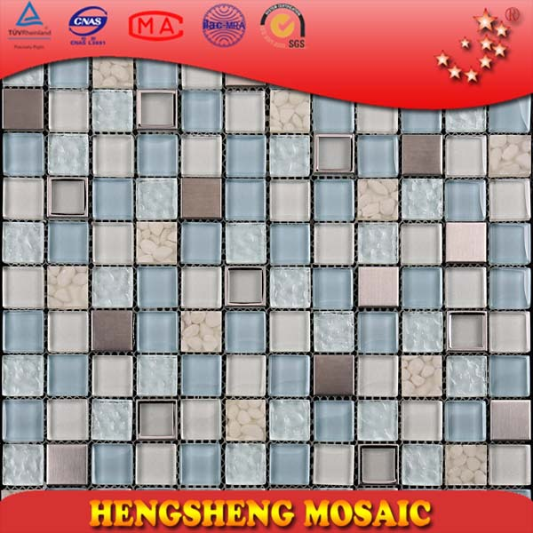 HSD31 Hot Sale Decoration Kitchen Steel Stainless Broken Glass Tile Sea Shell Mosaic metal frame