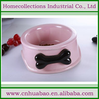 Round pink color ceramic dog bowl with handle for feeding