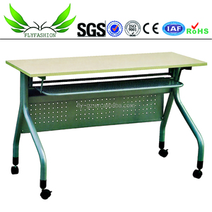 Durable meeting room desk two seats training table with wheels (SF-11F)
