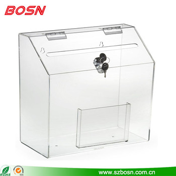 Hot sell clear acrylic locking ballot box with front pocket
