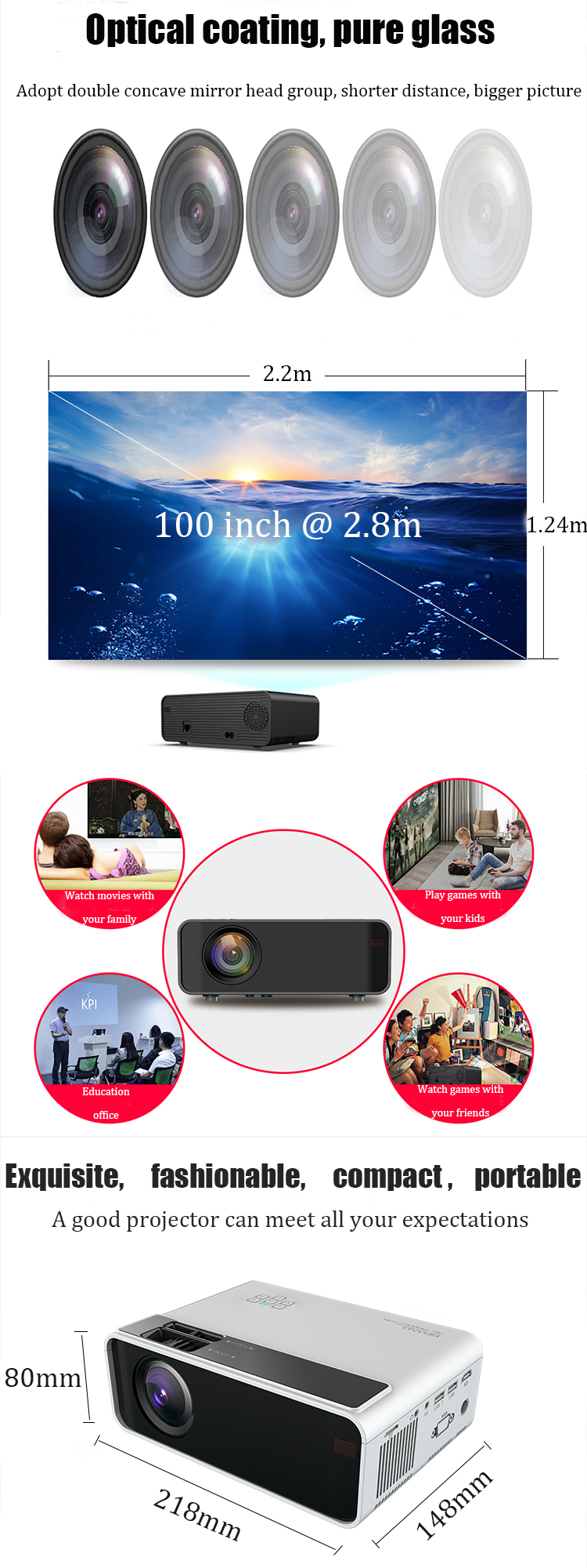 Laptop dlna airplay led tv projecteur hot selling 3d 4k video multimedia slide wireless wifi universal ceiling mount projectors