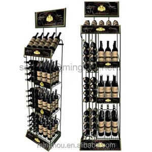 High Quality Retail Store Supermarket Advertising Floor metal Wine Display Rack