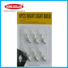 6PC 120V 4W 60HZ CLEAR NIGHT LIGHT BULBS USED FOR HALLWAY BATHROOM AND KITCHENS