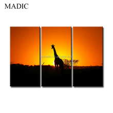 3 Panel Wall Pictures for Home DecoArt Oil Painting of Giraffe in Sunset African Landscape Modern Canvas Giclee Printings Framed