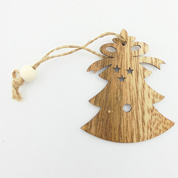 Hot Selling Xmas Bell Wooden Shapes Plywood Laser Cut Wood Hanging Chips