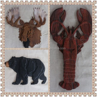 2016 Hot selling large wooden decorative handicrafts wall decoration animal