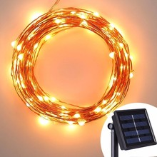 Outdoor Copper Wire 33ft Solar Recharged LED String Lights Multi-Color Waterproof Christmas Light Bulb Covers