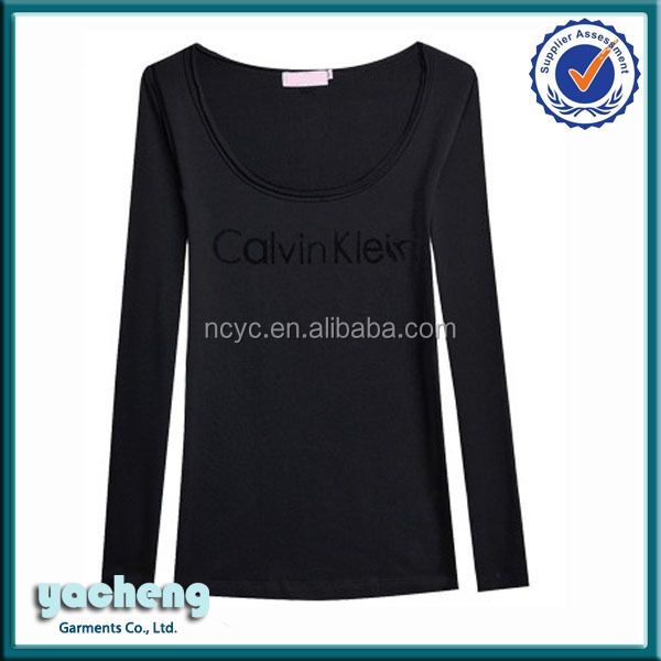 Woman blank high quality t-shirts Custom ladies new design t shirt black lady's plain soft cotton t-shirt long sleeve t-shirts