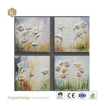 100% handmade 3Dpictures for walls frameless oil painting wall deco new year design