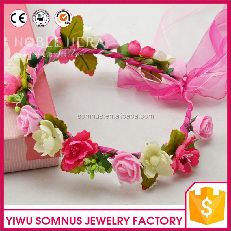 Factory wholesale flower bridal tiara <strong>crown</strong>