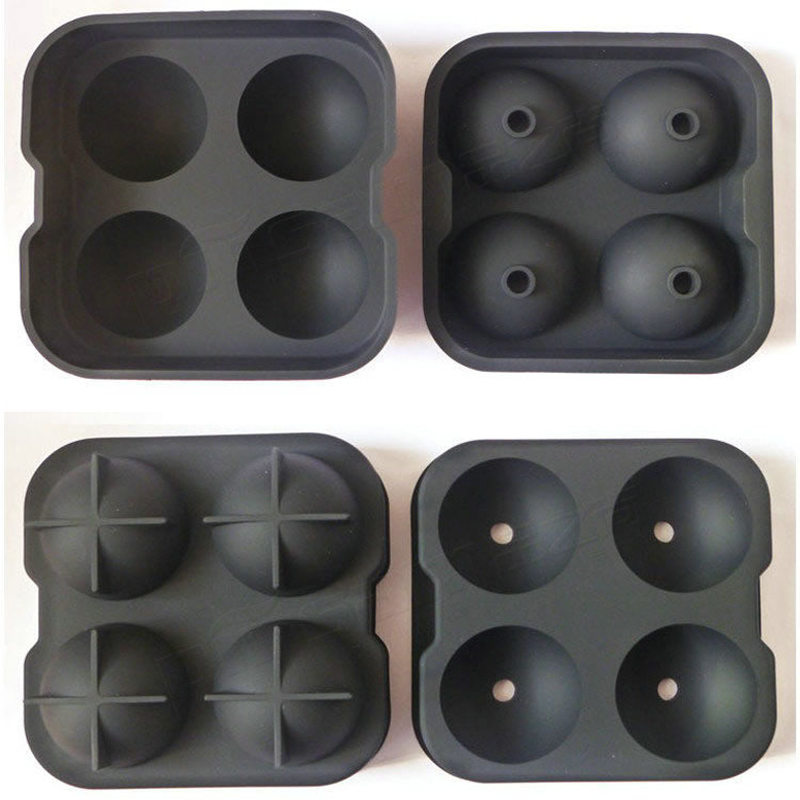Factory Wholesale non-spill silicone ice ball maker 4 ball whisky ice ball mold