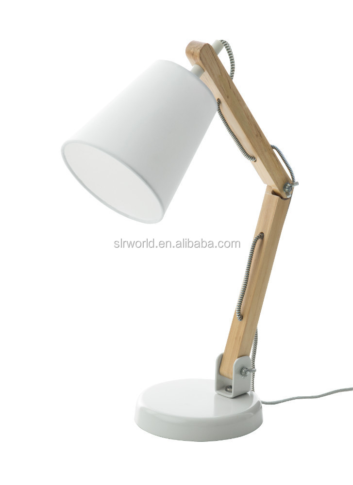 Wooden Swing Arm Table Lamp