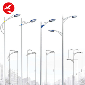 High Quality Outdoor Double Arm Round Octagonal 10M Galvanized Led Solar Street Light Pole Design