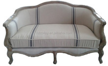 French living room furniture sofa, blue stripe linen oak wood sofa