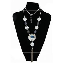 New Bohemian Retro Tassel Exaggerated Turquoise Big Pendant Necklace