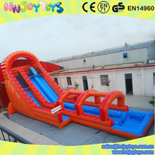 flame PVC giant hippo inflatable water slide with pool for sale