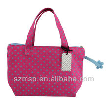 cotton full dot printing handbag mini rubber floral puller shopping bag/woman mini handbag