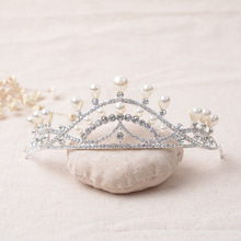 Fashionable pearl rhinestone princess tiaras and crowns cheap for wedding